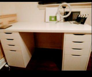 Ikea Alex White Table with Drawers and Small black table