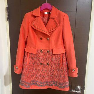 Mengtian復古雙排扣珊瑚橘外套
