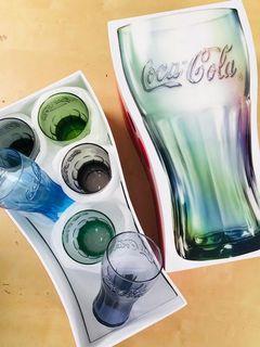 New全新 可口可樂杯一套6色連杯形收納盒