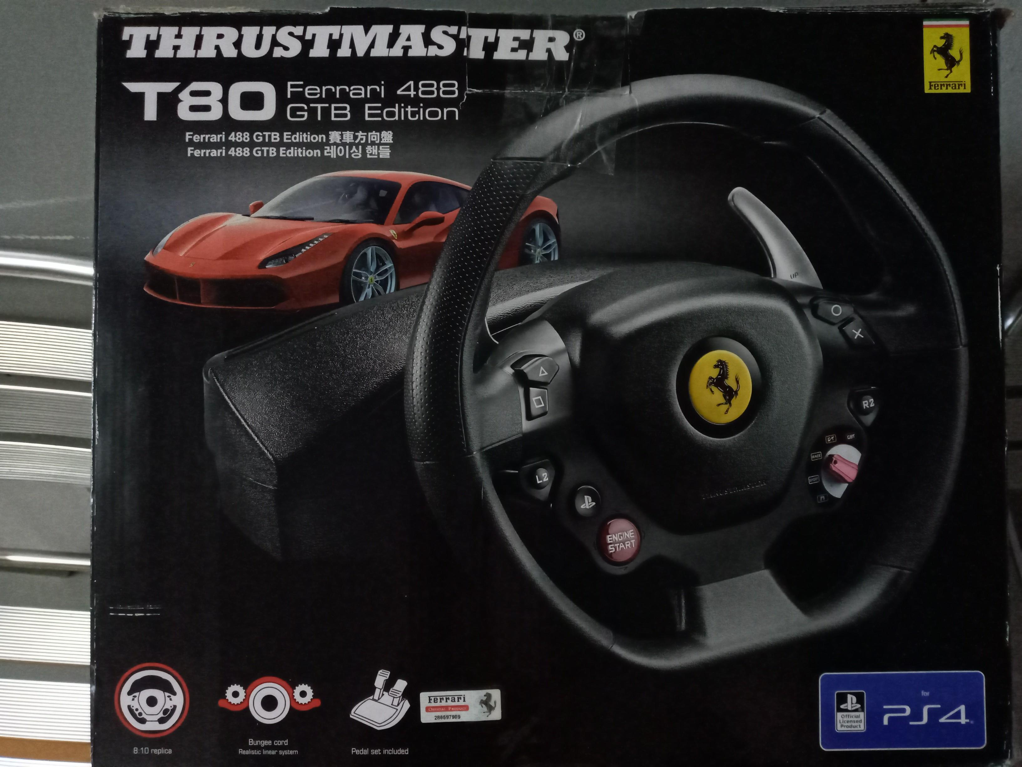 T80 Thrustmaster Steering Wheel Ps4 Ferrari Type Toys Games Video Gaming Gaming Accessories On Carousell