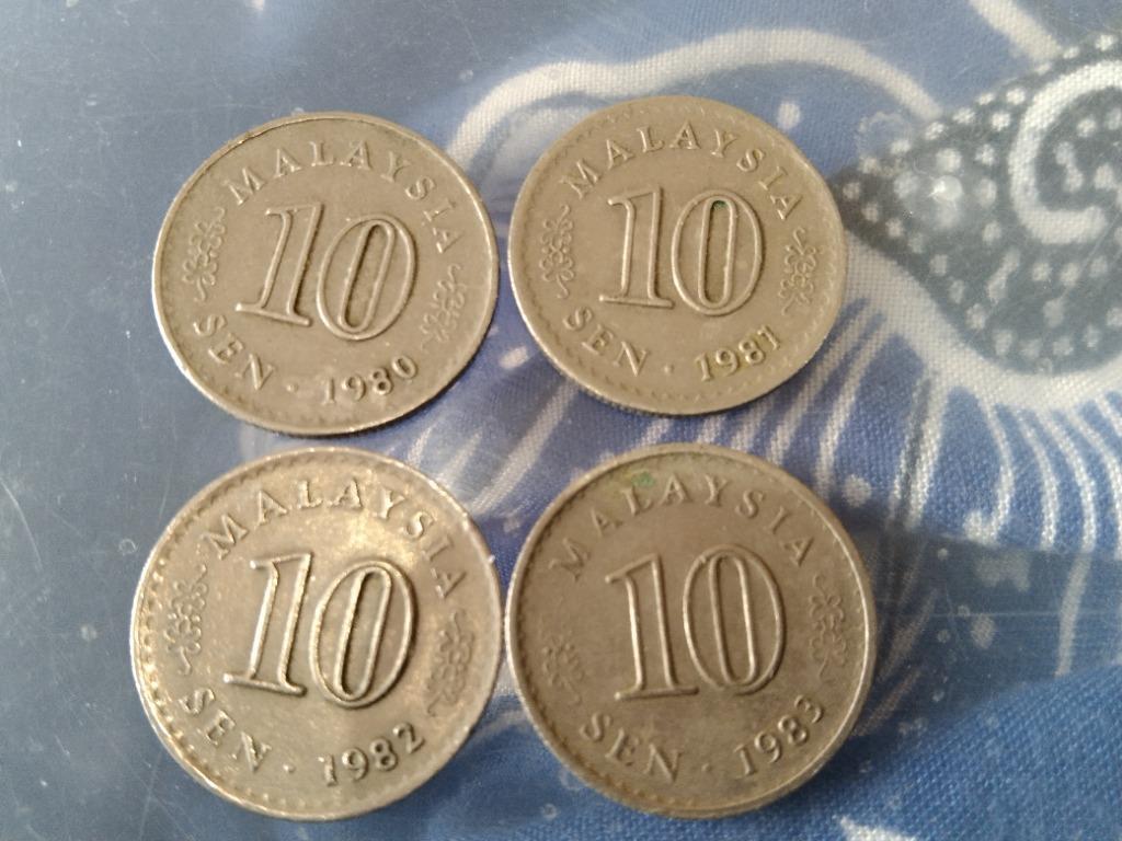 10sen Parlimen Old Coin 1980, 1981, 1982, 1983