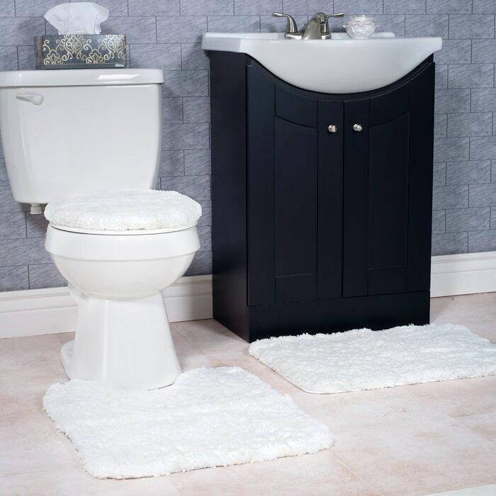 2 Pc Plush Bathroom Rug Set