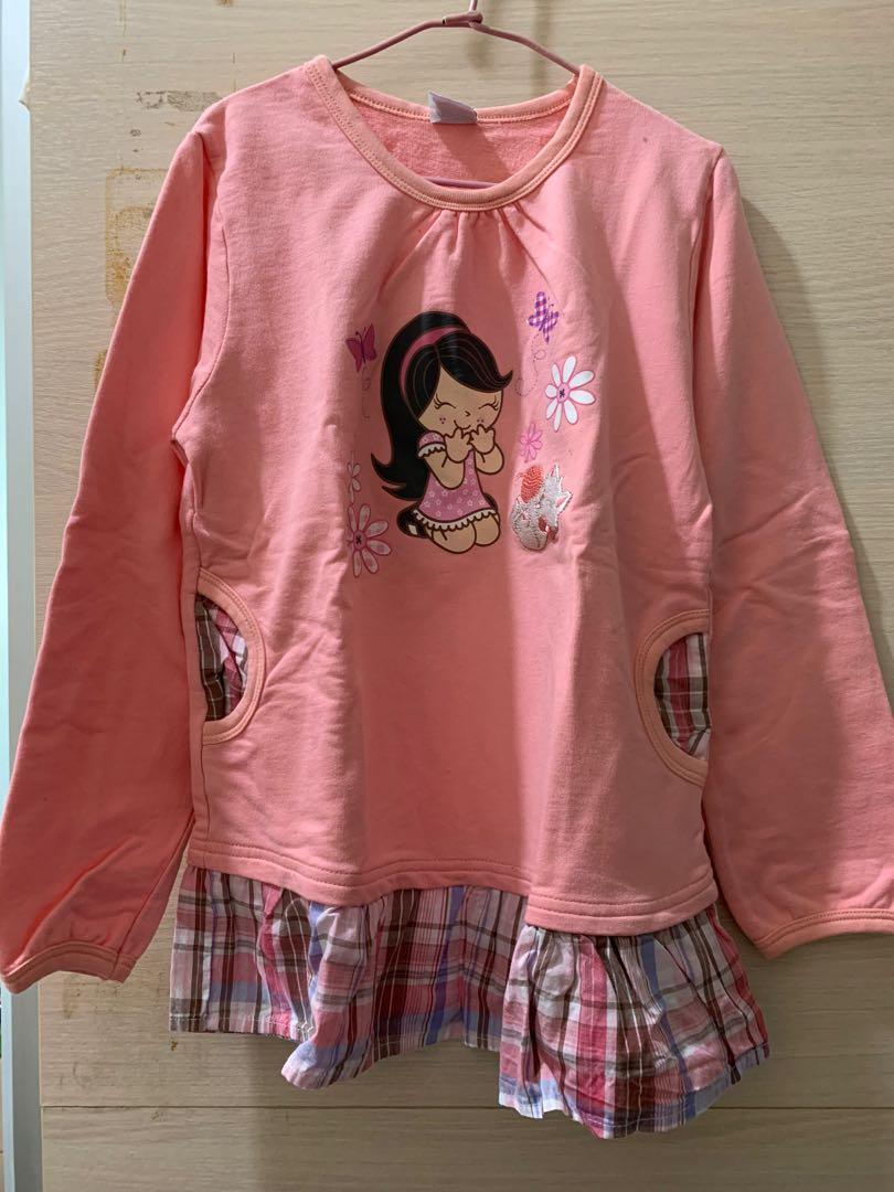 搬家急售 全新粉色長袖薄長袖上衣 童裝