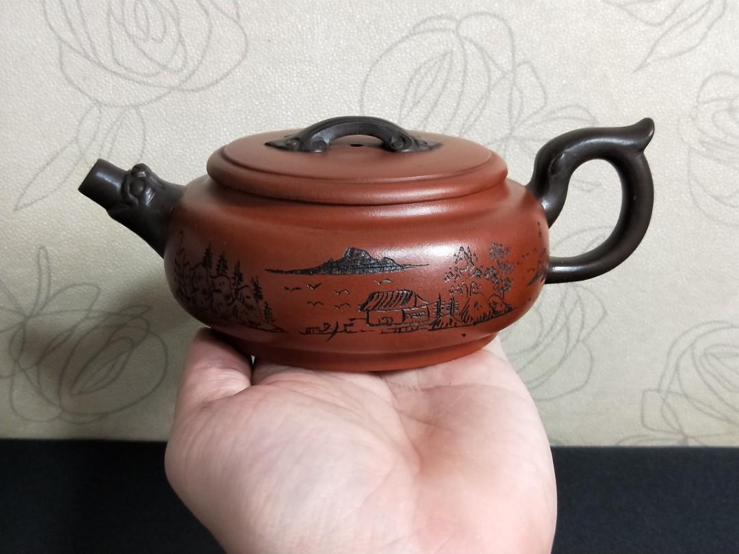 早期祖父茶行留下來的老壺~ 分享讓藏給各位同好~ 紫砂精品圓腹壺