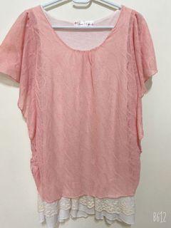 粉色 長版 蝴蝶袖  假兩件 上衣