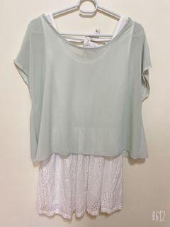 薄荷綠 兩件式 洋裝 長版上衣 背後設計蝴蝶結