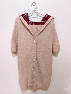 保暖 混色  毛衣 針織 短袖   長版 連帽 外套