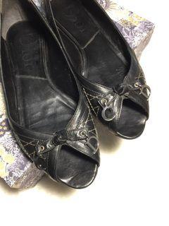 DIOR 黑色菱格紋平底鞋 #36