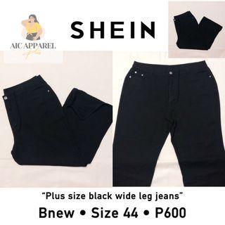 Shein curve plus size black wideleg denim jeans
