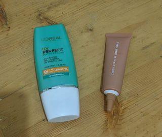 take all loreal sunscreen + blp blush on