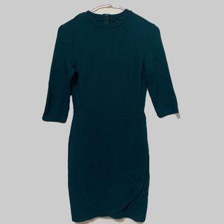 Topshop綠色棉質彈性包臀洋裝 連身洋裝 連身裙 七分袖洋裝 彈性連身裙 36
