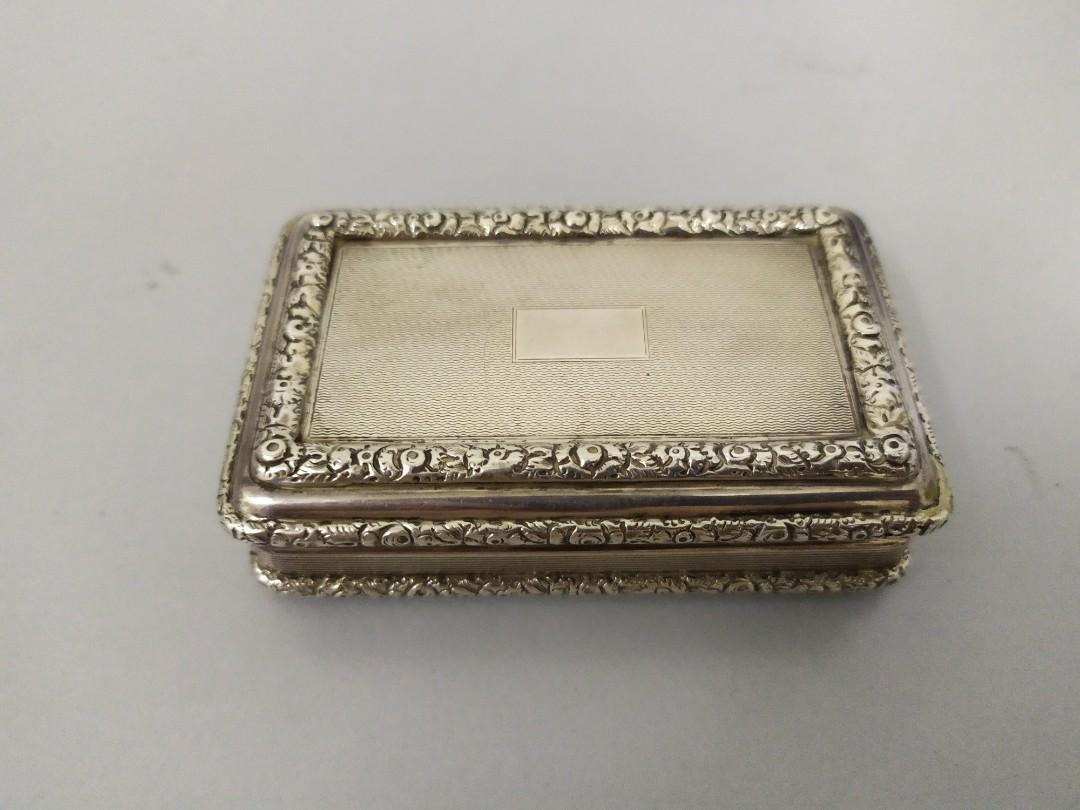 Vintage English Silver Snuff Box With Hallmark