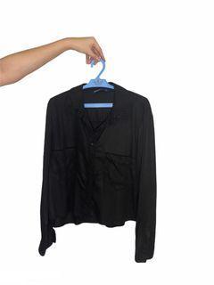 Zara Basics Black Longsleeves Buttondown Top