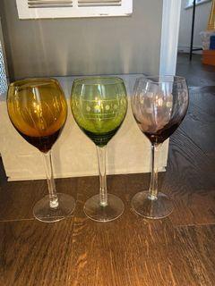 3 colored wine glasses