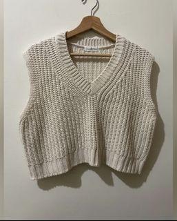 降價❗️原價五折✨韓國製米白色針織背心上衣