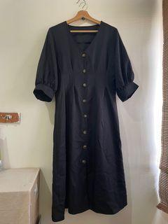 日本購入🇯🇵黑色復古收腰琥珀扣排扣長裙連身裙