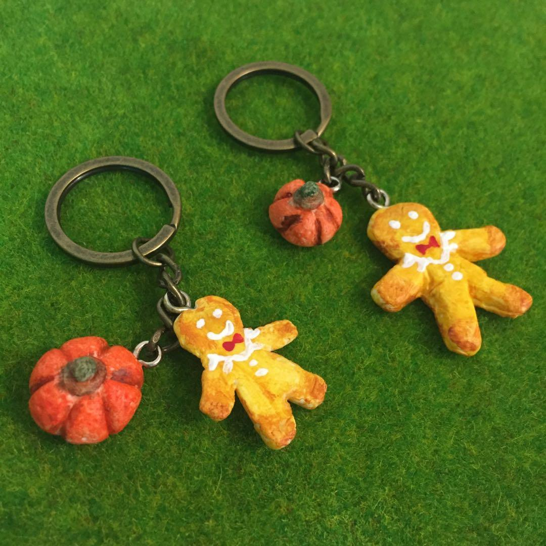 袖珍甜點鑰匙圈 迷你薑餅人與南瓜 手作吊飾