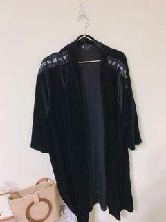 絲絨罩衫 暗黑系 長版 街頭