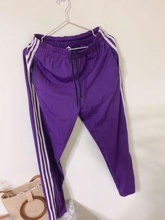 三槓 街頭 紫色 寬褲