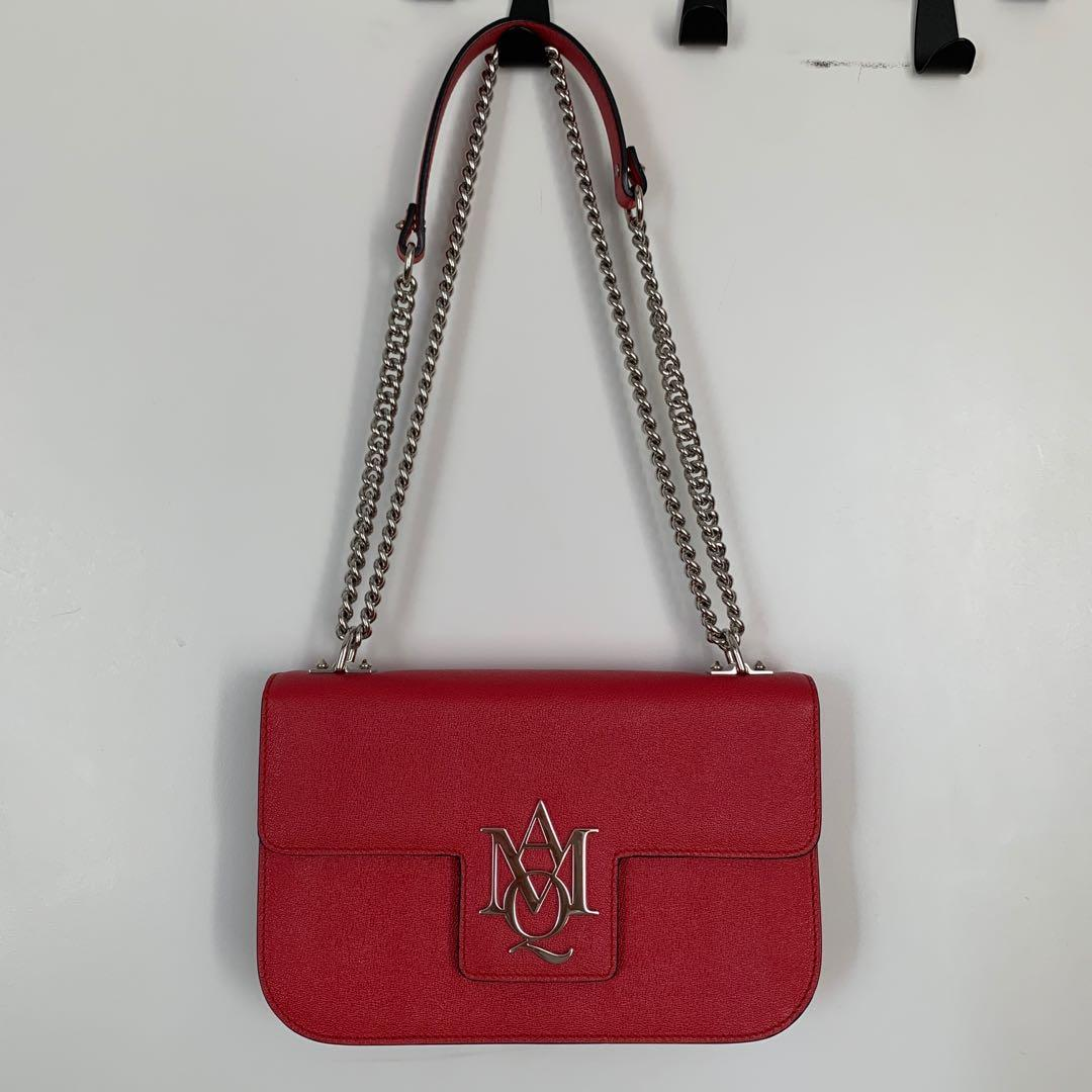 Authentic Alexander McQueen Leather Chain AMQ Insignia Shoulder Bag