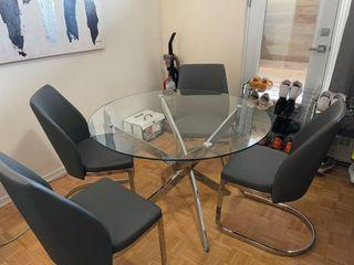 Glass table & Grey Chairs