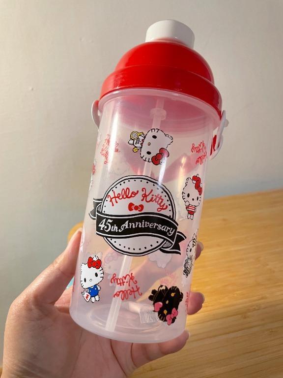 全新!三麗鷗【Hello Kitty凱蒂貓】45週年紀念紅色彈跳水壺500ml #小旅行