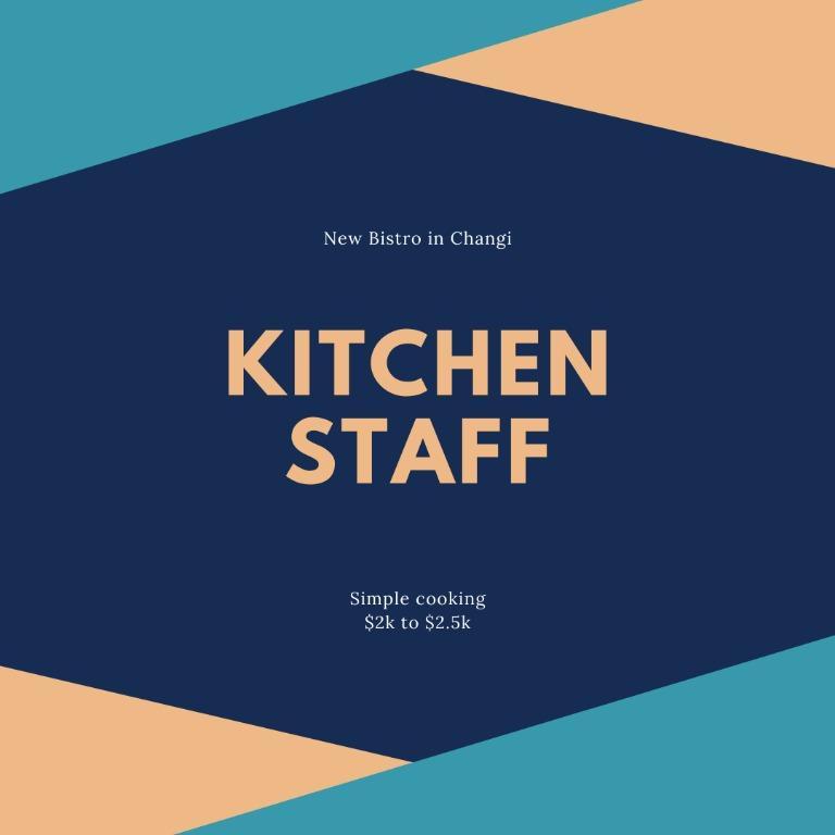 Kitchen Staff / Bartender / Waitress - Changi - $2k to $2.5k