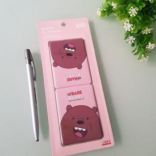 Miniso Pocket Vanity Travel Double Mirror The Bare Bears Grizz Grizzly Cermin