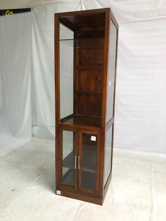 Vintage Malaya Style Wooden Frame Glass Display Shelf Cabinet