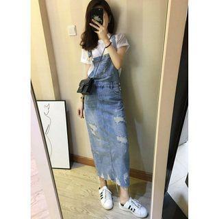【全新】韓版顯瘦抓破吊帶牛仔休閒長裙