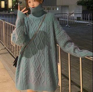全新 高領麻花針織毛衣