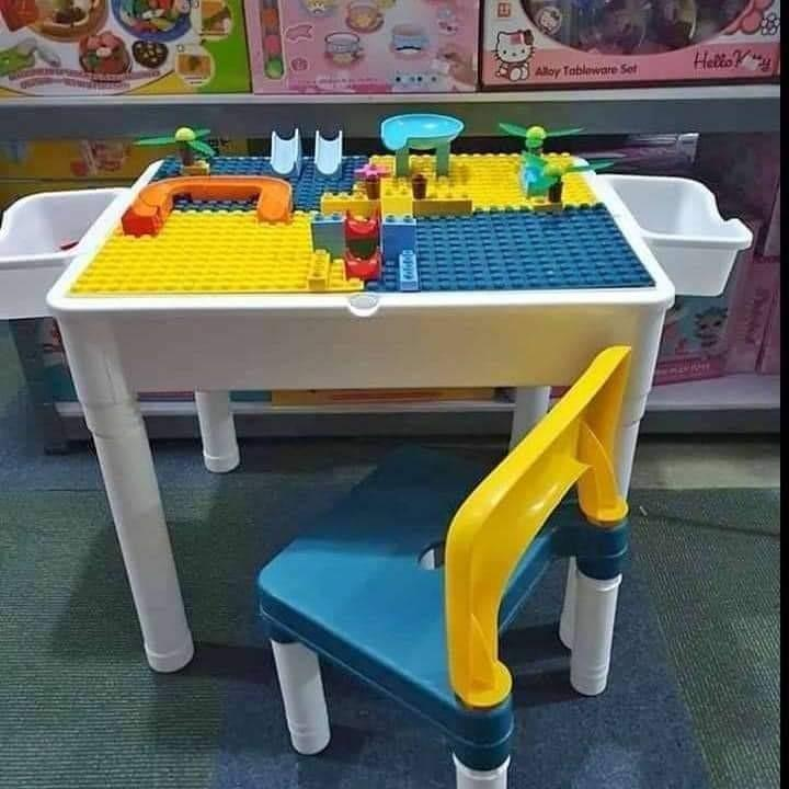 Lego Table With Chair For Kids Babies, Lego Table With Storage Triangle And 3 Chairs