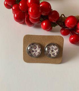 Leopard Print Cabochon Earrings