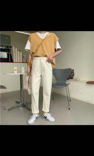 奶油色牛仔褲M~
