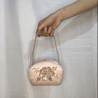 Pastel Pink Formal Clutch Bag with Mirror