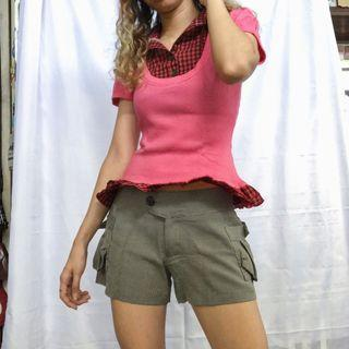 Pink Ribbed Blouse with Plaid Inner Button Down with Ruffles Detail