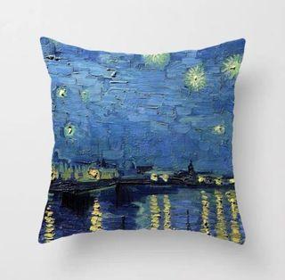 油畫風Van Gogh starry night cushion cover梵高星空星夜塞納河畔咕𠱸套