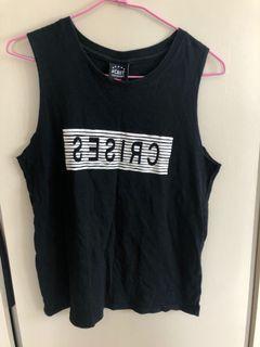 隨性字母無袖上衣