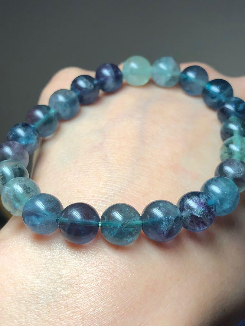 智慧之石藍螢石手串又稱冷翡翠 市面少有全藍瑩石 現貨實拍