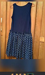 深藍無袖背心洋裝 點點洋裝 點點裙 背心裙 無袖裙子 #換季