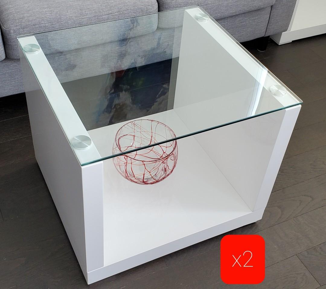 Glass coffee or end display tables