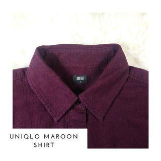 Kemeja Uniqlo Maroon