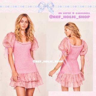 LoveShackFancy Violet Mini Dress in Gilded Pink   Silk