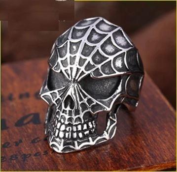 Men's Spiderman Skull Biker Ring