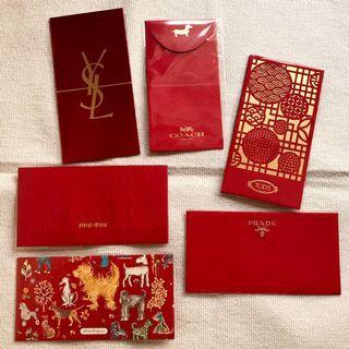 Prada/MIU MIU/TOD'S/COACH/Salvatore Ferragamo/YSL 精品紅包袋 一組6入 款式各一 全新