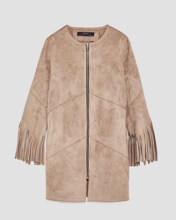 Zara faux suede fringe jacket