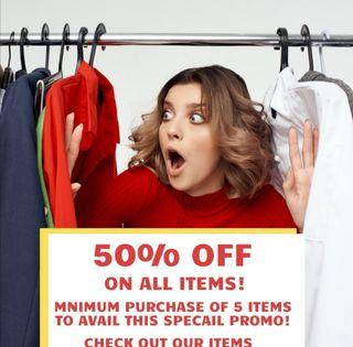 50% off all items! Clearance sale