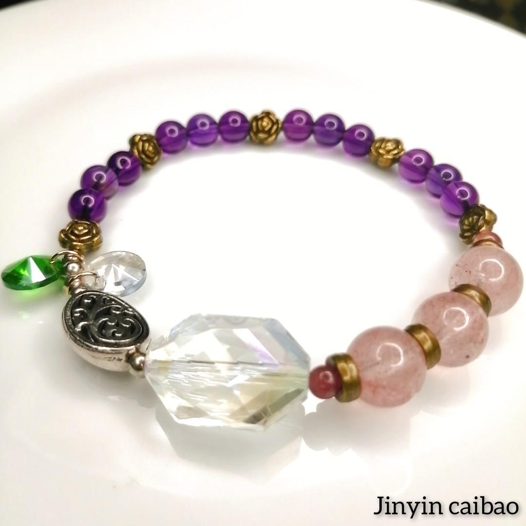 草莓水晶紫水晶手鍊