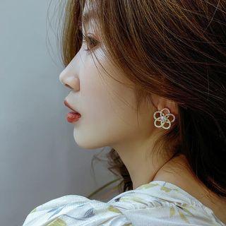 珍珠花水鑽耳環