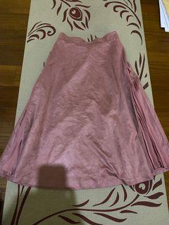日系 玫瑰粉 麂皮 百折 長裙